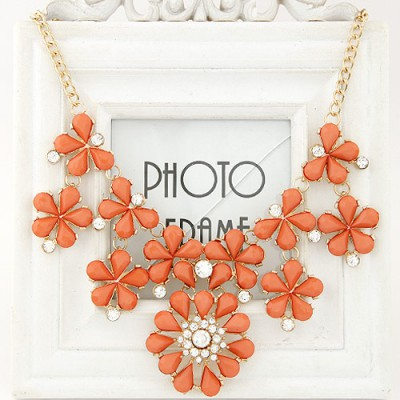 Funeral orange gemstone decorated flower design alloy Bib Necklaces