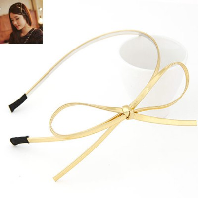 Famale yellow bowknot decorated simple design alloy Hair band hair hoop
