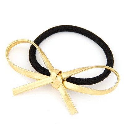 Folding yellow bowknot decorated simple design alloy Hair band hair hoop
