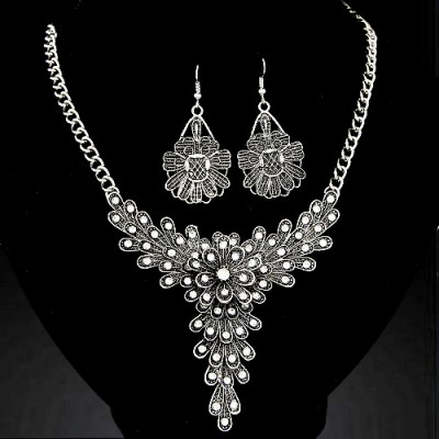 Funeral silver color diamond decorated flower  design alloy Jewelry Sets
