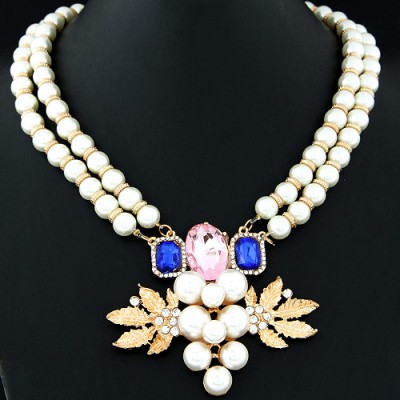 Indian beige pearl decorated grapes shape design alloy Bib Necklaces