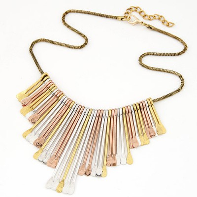 Quicksilve yellow tassel decoeated simple design alloy Bib Necklaces