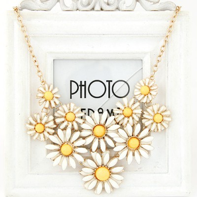 Crucifix beige gemstone decorated flower design alloy Bib Necklaces