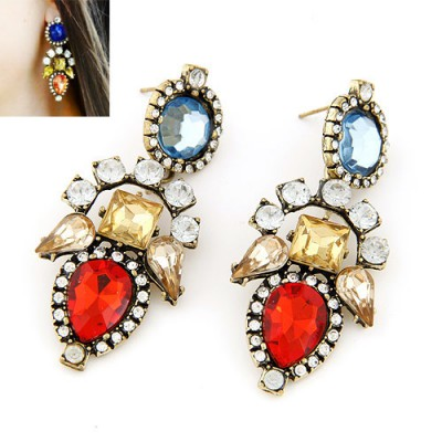 Pendants red diamond decorated geometrical shape design