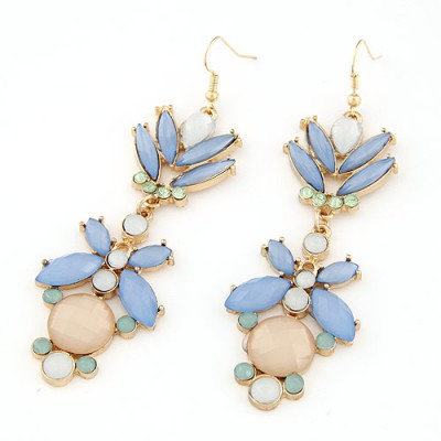 Tribal light blue gemstone decorated butterfly shape design alloy Korean Earrings
