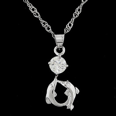 Automatic silver color diamond decorated dolphins shape pendant design alloy Chains