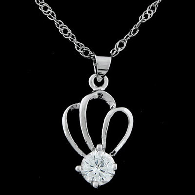 Beige silver color diamond decorated crown shape pendant design alloy Chains