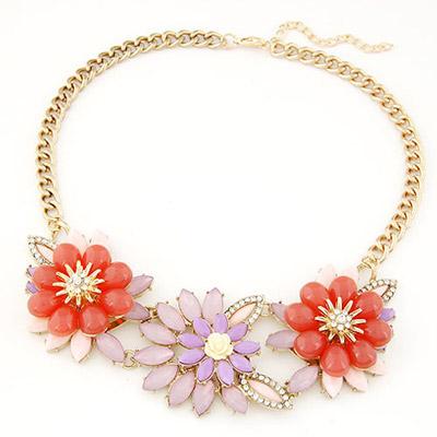 Steelers orange gemstone decorated flower design alloy Bib Necklaces