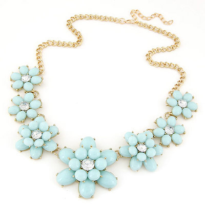 Sling light blue gemstone decorated flower design alloy Bib Necklaces