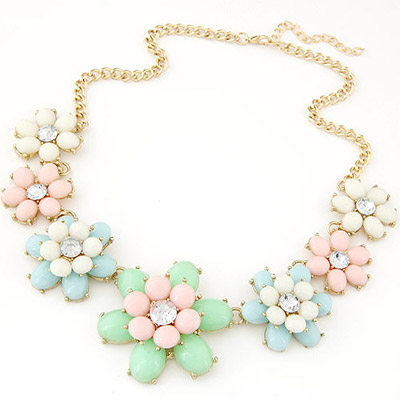 Fashionabl multicolor gemstone decorated flower design alloy Bib Necklaces