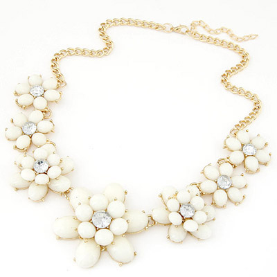 Athletic beige gemstone decorated flower design alloy Bib Necklaces