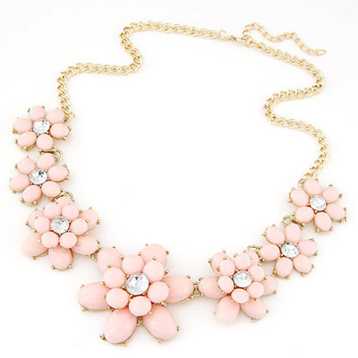 Collapsibl light pink gemstone decorated flower design alloy Bib Necklaces