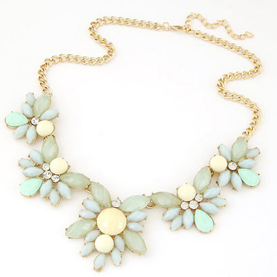 Steelers light blue gemstone decorated simple design alloy Bib Necklaces