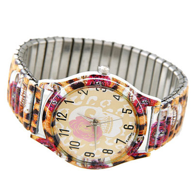 Huge leopard color skull pattern decorated leopard design alloy Ladies Watches