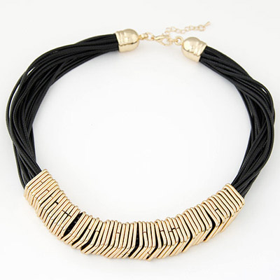Electronic gold color metal decorated multi-turn design alloy Bib Necklaces