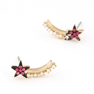 Monarchy plum red CZ diamond decorated star shap design alloy Stud Earrings