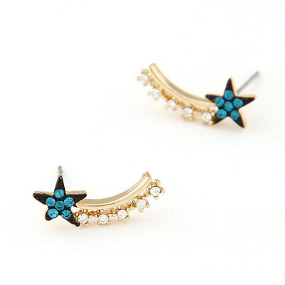Ladies navy blue CZ diamond decorated star shap design alloy Stud Earrings