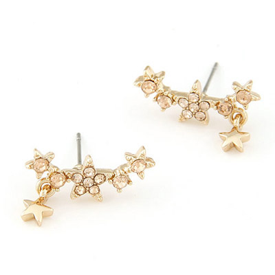 Sullen gold color CZ diamond decorated star shap design alloy Stud Earrings