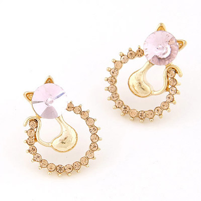 Fresh light pink CZ diamond decorated cat shape design alloy Stud Earrings