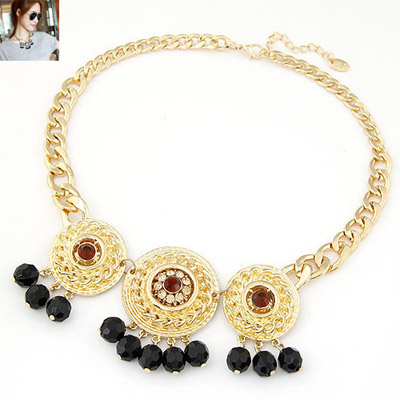 Health gold color beads decorated round pendant design alloy Bib Necklaces