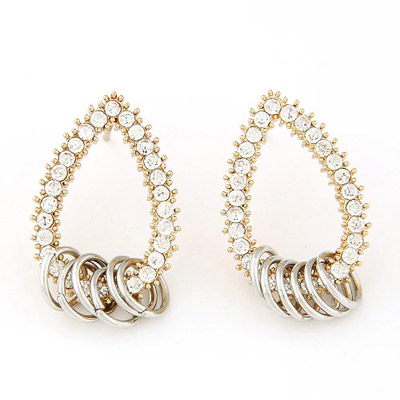 Special silver color diamond decorated waterdrop shape design alloy Stud Earrings