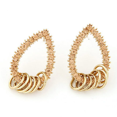 Plated gold color diamond decorated waterdrop shape design alloy Stud Earrings