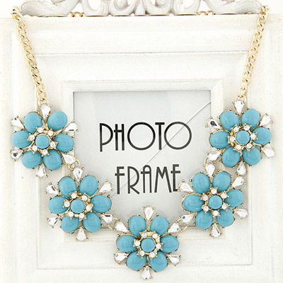 Memorial blue diamond decorated flower design alloy Bib Necklaces