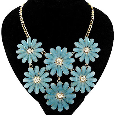 Western blue flower decorated simple design alloy Bib Necklaces