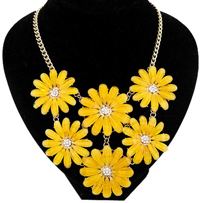 Tattoo yellow flower decorated simple design alloy Bib Necklaces