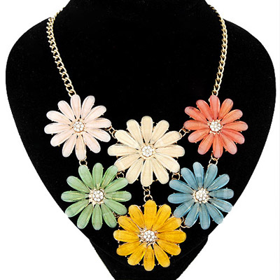 Classic milticolor flower decorated simple design alloy Bib Necklaces
