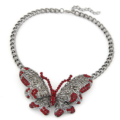 Embossed red diamond decorated butterfly pendant design alloy Bib Necklaces