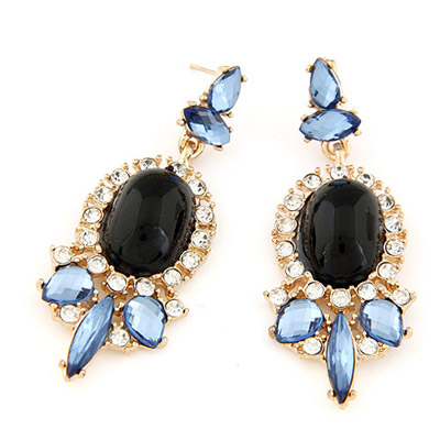 Coral black gemstone decorated oval shape design alloy Stud Earrings