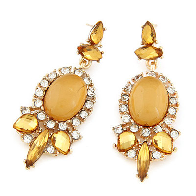 Misses yellow gemstone decorated oval shape design alloy Stud Earrings