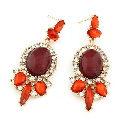 Hip Hop dark red gemstone decorated oval shape design alloy Stud Earrings