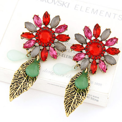 Bendable milticolor gemstone decorated flower leaf design alloy Stud Earrings