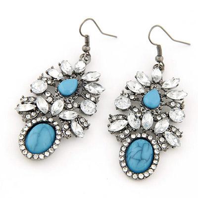 Gorgeous navy blue gemstone decorated waterdrop shape design alloy Korean Earrings