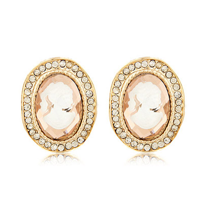 Elastic pink diamond decorated oval shape design alloy Stud Earrings