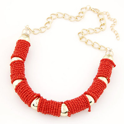 Physical red beads decorated U-shape design alloy Chains