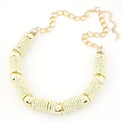 Sling beige beads decorated U-shape design alloy Bib Necklaces