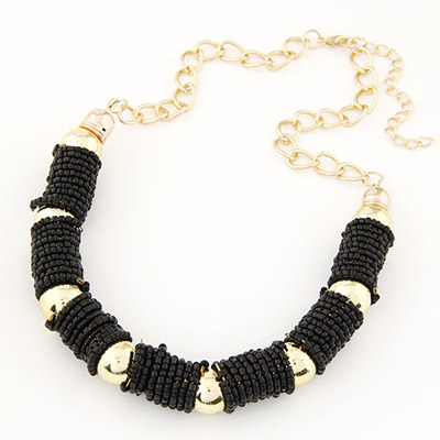 Genuine black beads decorated U-shape design alloy Bib Necklaces