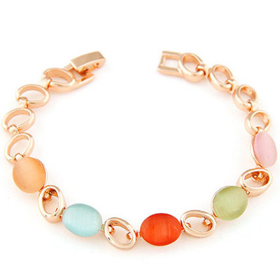 Birthing multicolor gemstone decorated oval shape design alloy Korean Fashion Bracelet