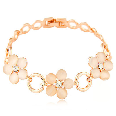 Infinity light pink diamond decorated flower design alloy Korean Fashion Bracelet
