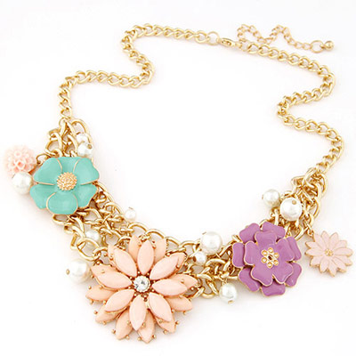 Executive multicolor gemstone decorated flower design alloy Bib Necklaces