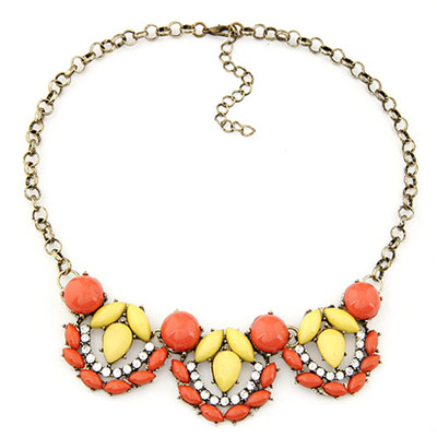 Best orange gemstone decorated waterdrop shape design alloy Bib Necklaces