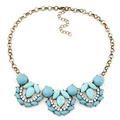 Dash blue gemstone decorated waterdrop shape design alloy Bib Necklaces