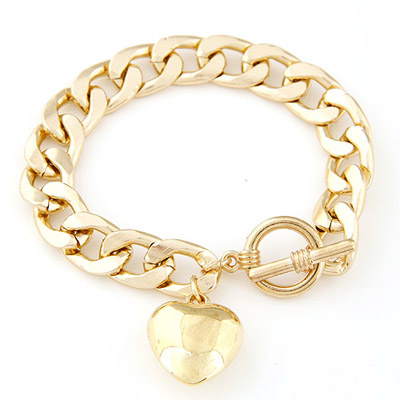 Wedding gold color heart shape decorated chain design alloy Korean Fashion Bracelet