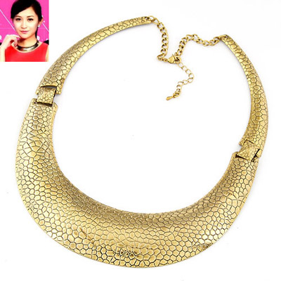 Milly gold color U-shape simple design alloy Bib Necklaces