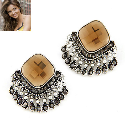 Goth champagne gold diamond decorated tassel design alloy Stud Earrings