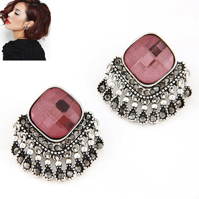 Decorative red diamond decorated tassel design alloy Stud Earrings