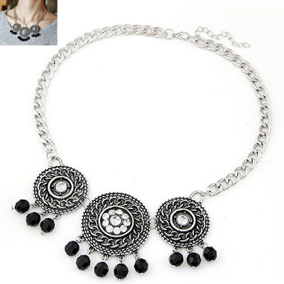 Nice black tassel decorated round shape design alloy Bib Necklaces